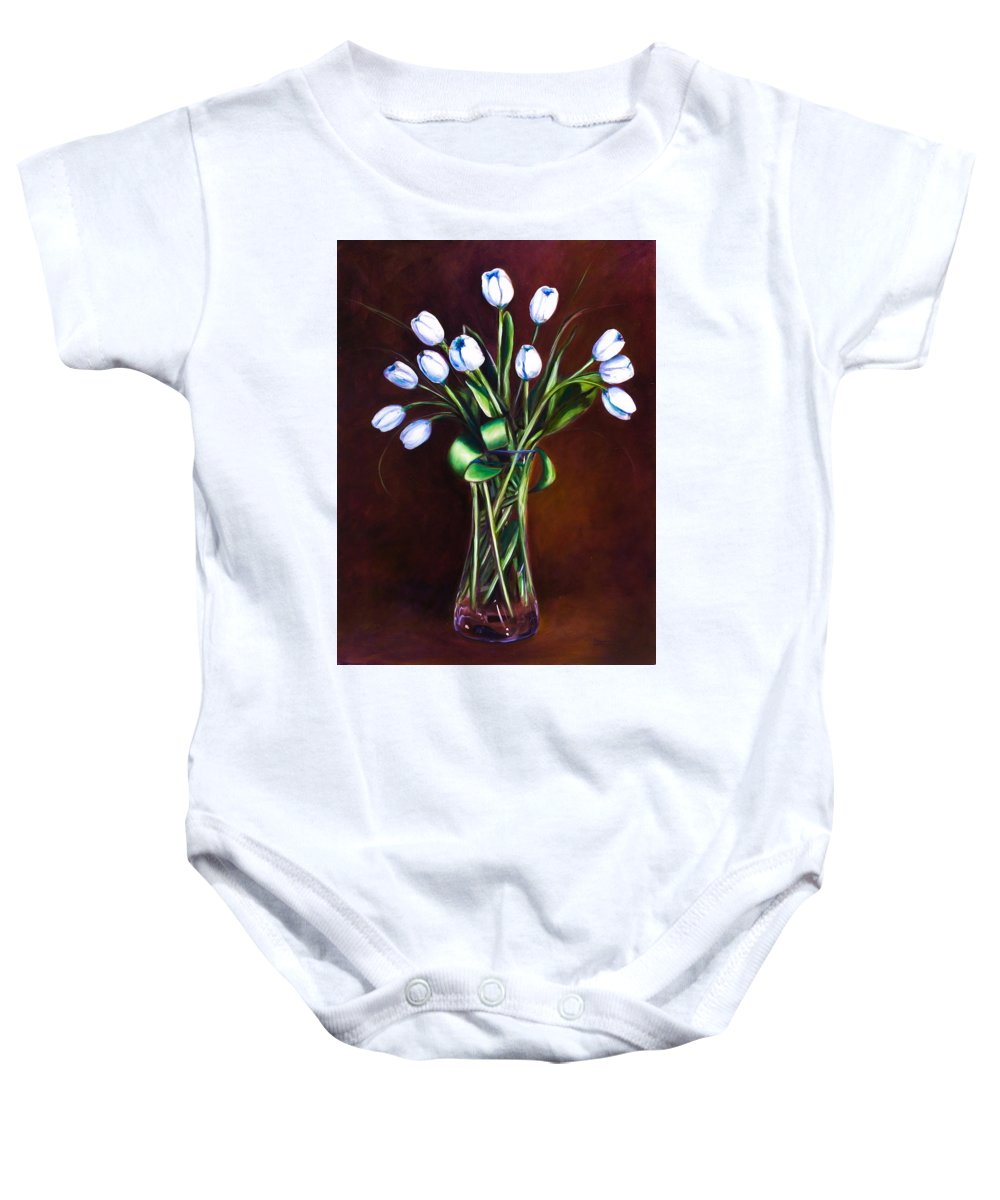 Shannon Grissom Baby Onesie featuring the painting Simply Tulips by Shannon Grissom