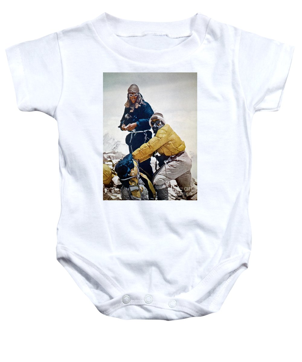 1953 Baby Onesie featuring the painting Sir Edmund Hillary by Granger