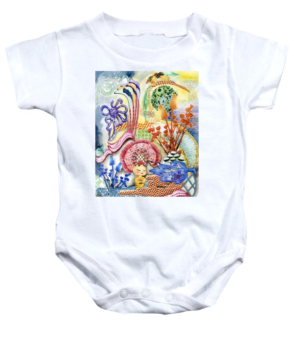 Bright Baby Onesie featuring the painting Sitting Pretty by Valerie Meotti