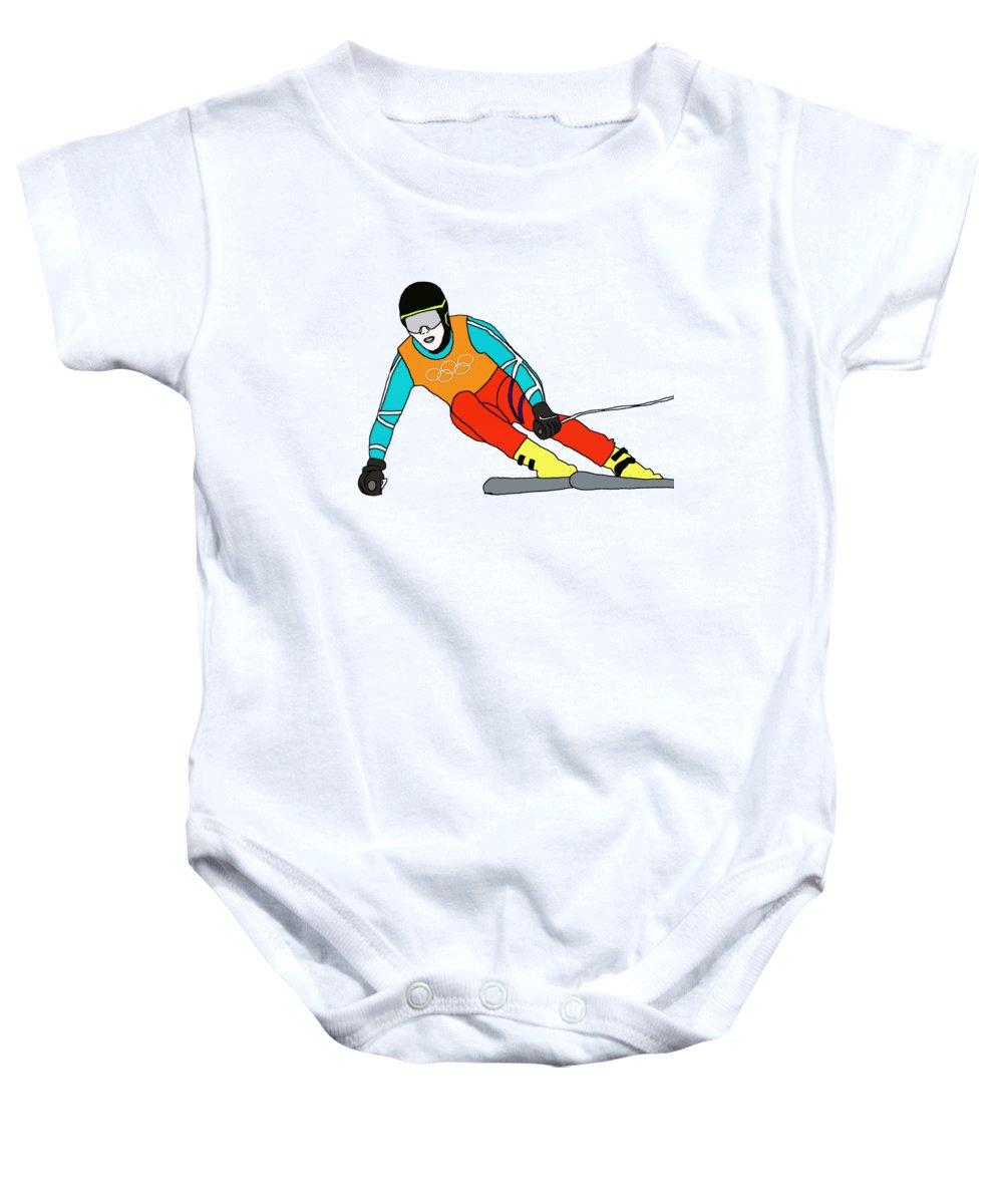 Skier Baby Onesie featuring the digital art Skier by Priscilla Wolfe