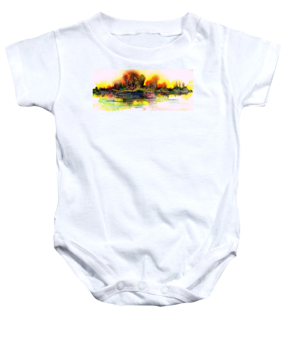 Quiet Baby Onesie featuring the painting Skipping Stones by Melody Horton Karandjeff