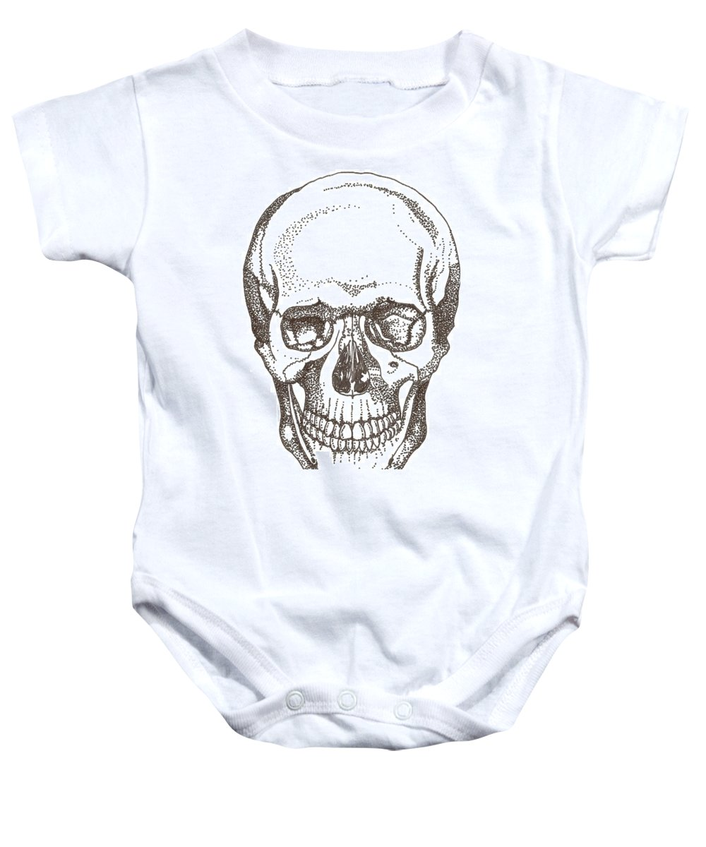 Skull Baby Onesie featuring the drawing Skull by Americo Salazar