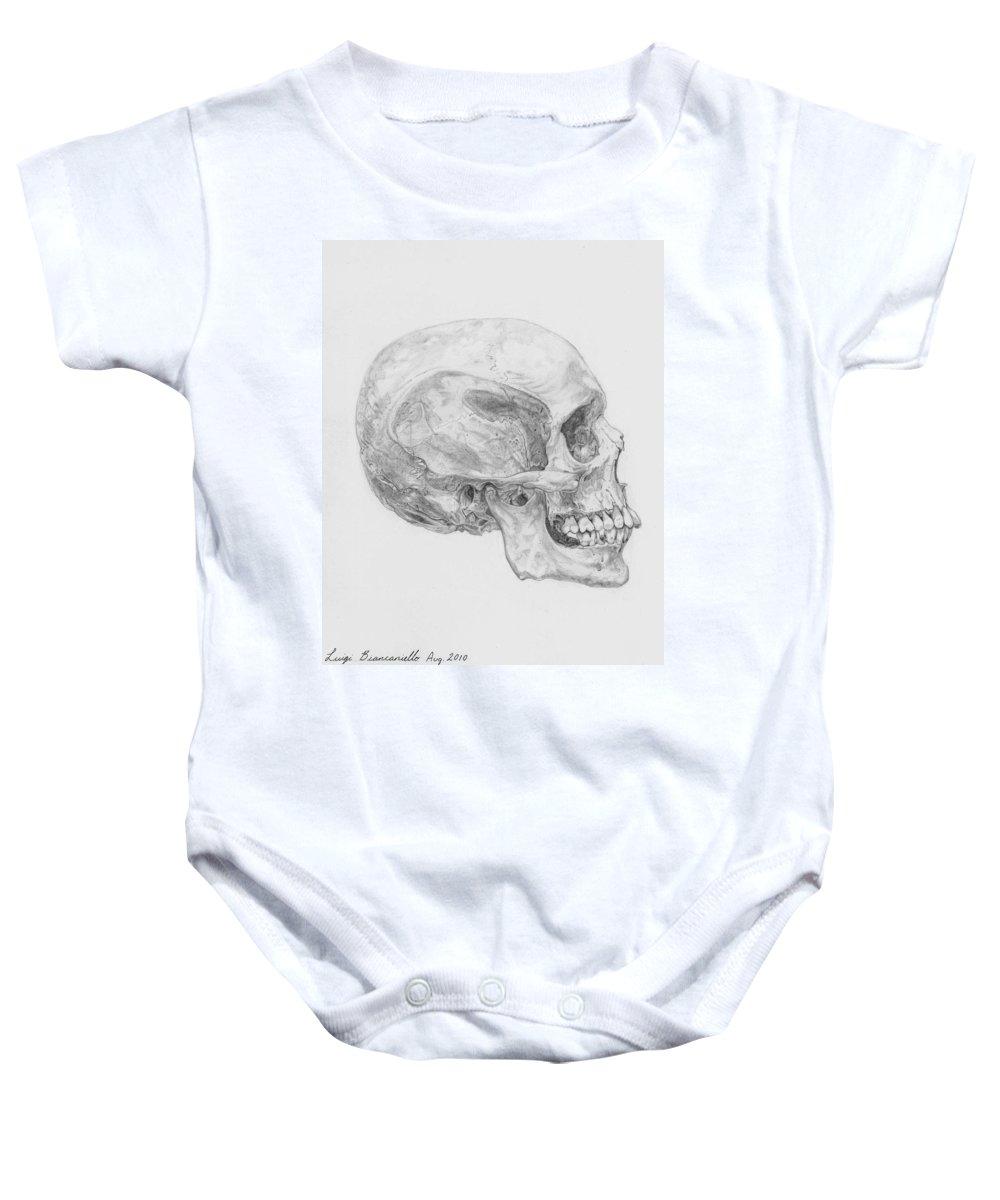 Skull Skeleton Baby Onesie featuring the drawing Skull by Luigi Biancaniello