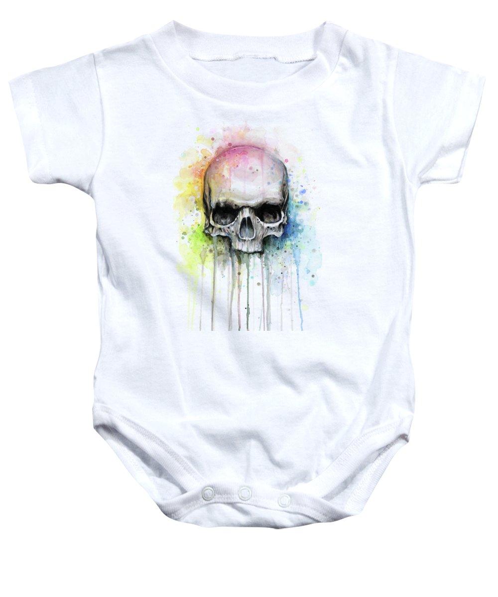 Skull Baby Onesie featuring the painting Skull Watercolor Rainbow by Olga Shvartsur