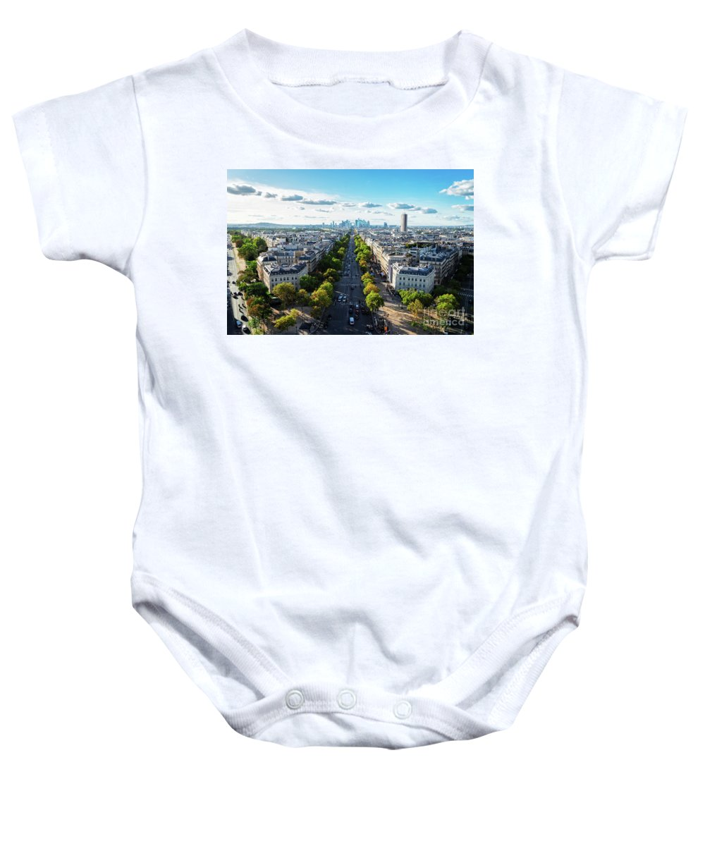 Paris Baby Onesie featuring the photograph Skyline Of Paris, France by Anastasy Yarmolovich