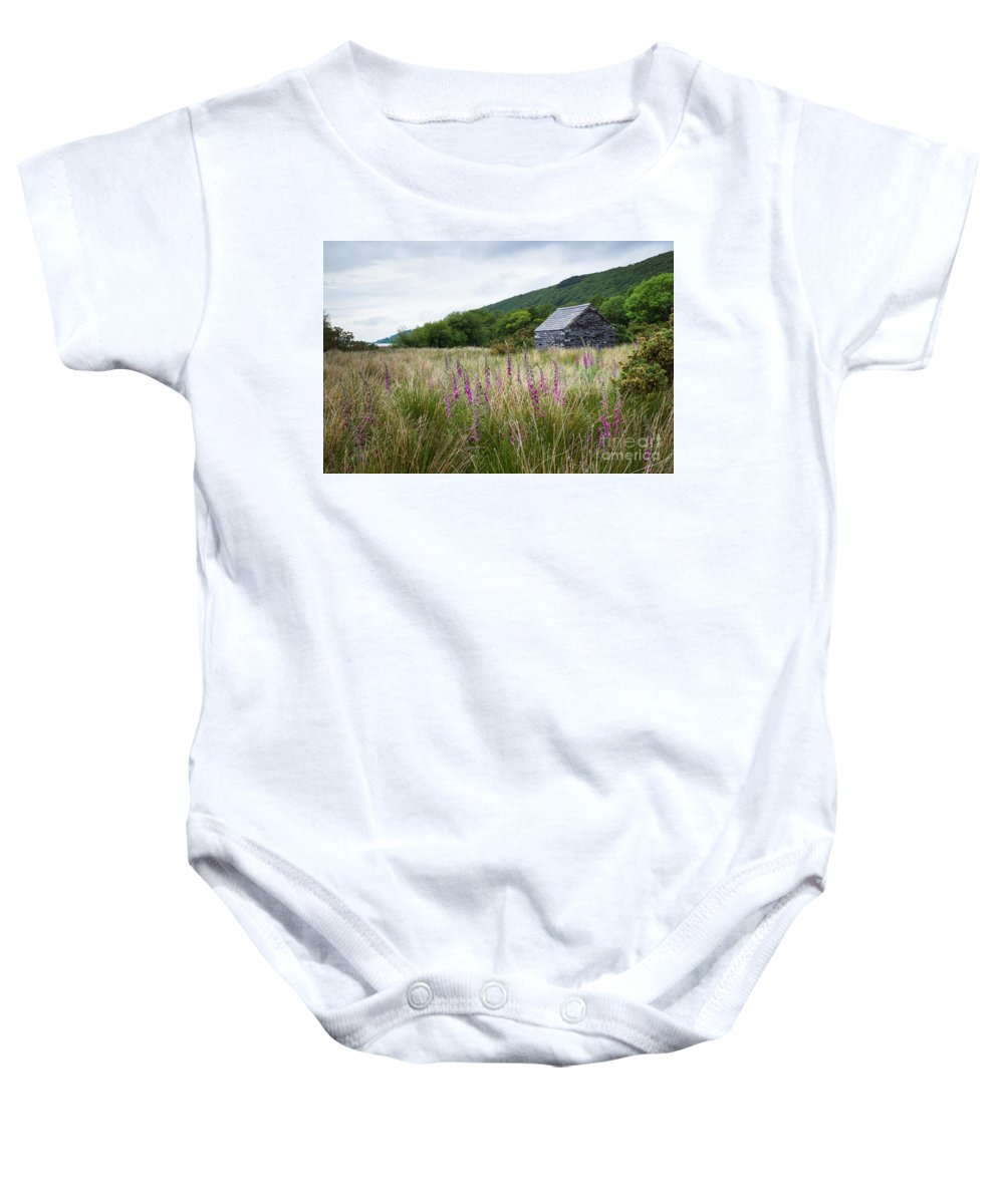 Beautiful Baby Onesie featuring the photograph Slate Cabin In Wales by Sher Stoll