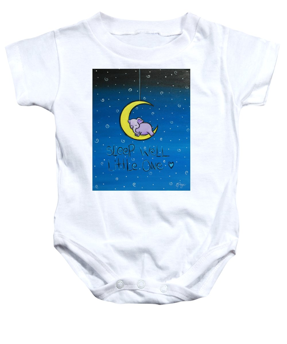 Baby Elephant Baby Onesie featuring the painting Sleep Well - Purple Elephant by Emily Page