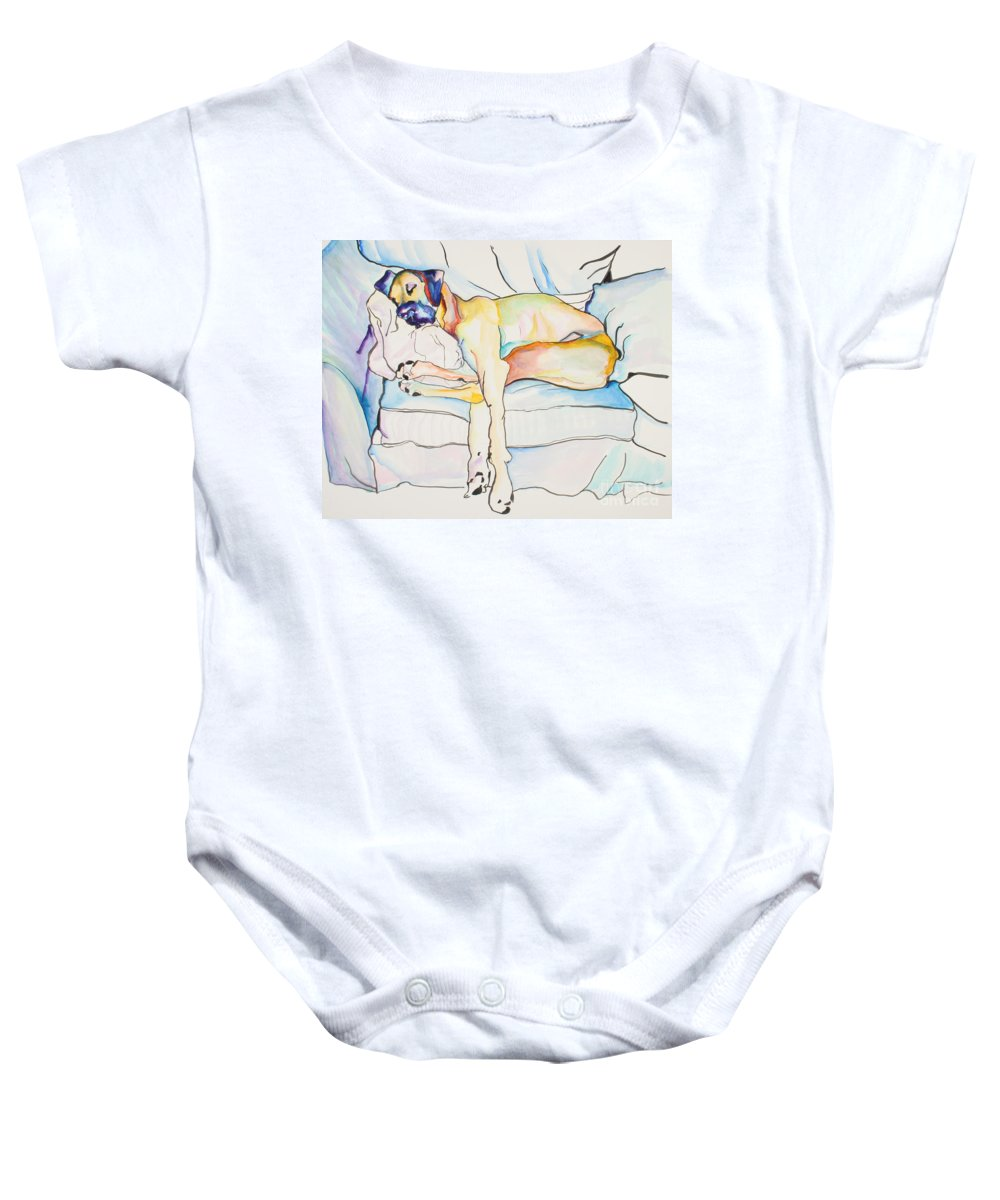 Great Dane Baby Onesie featuring the painting Sleeping Beauty by Pat Saunders-White