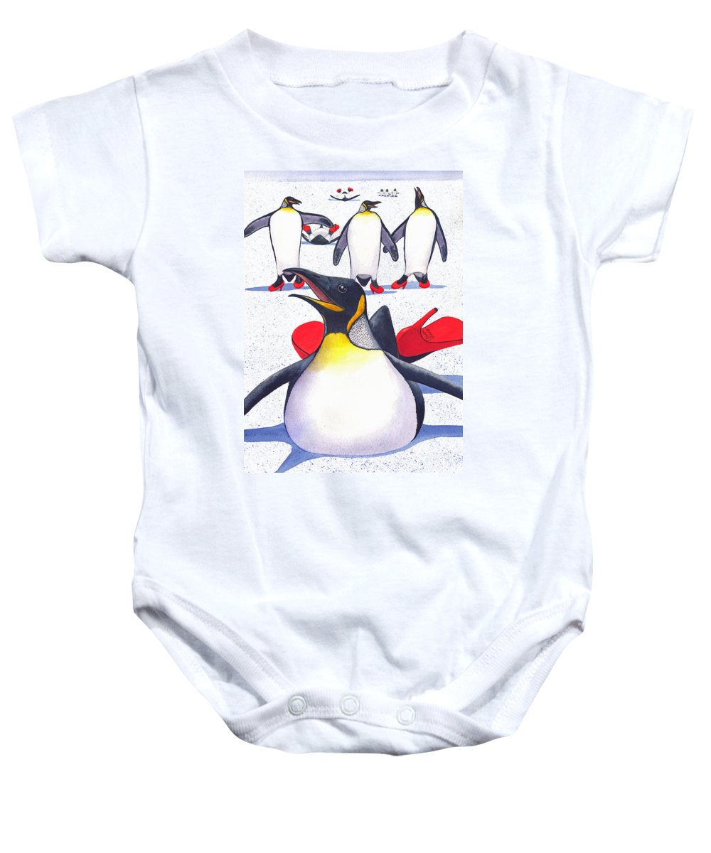 Penguin Baby Onesie featuring the painting Sliding In Style by Catherine G McElroy