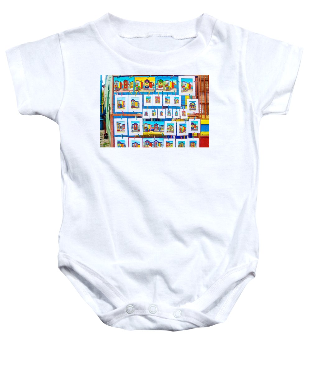 Small Paintings For Sale In La Boca Barrio In Buenos Aires Baby Onesie featuring the photograph Small Paintings For Sale In La Boca Area Of Buenos Aires-argentina by Ruth Hager