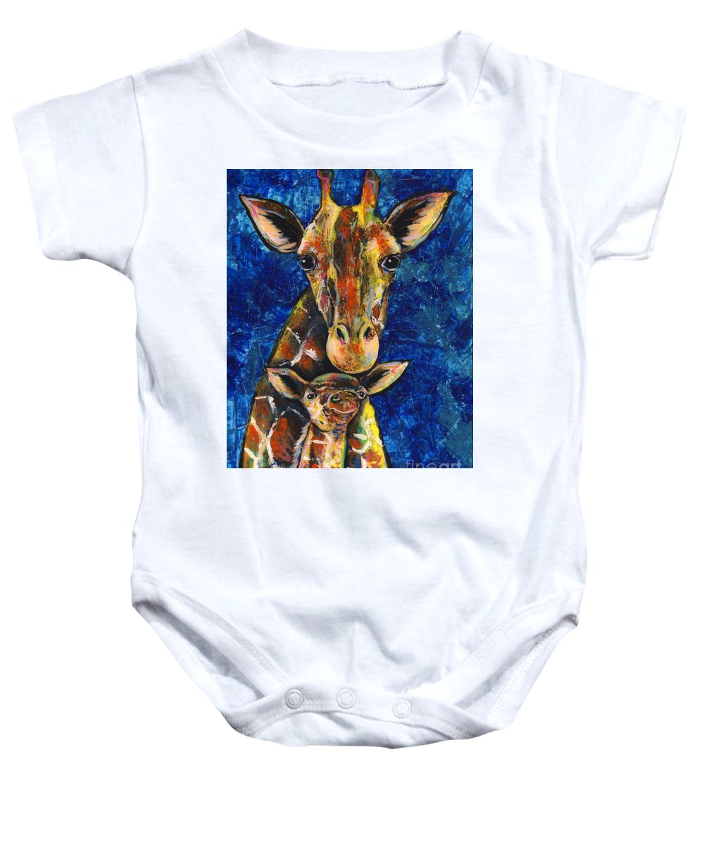 Baby Onesie featuring the painting Smiling Giraffes by Lovejoy Creations