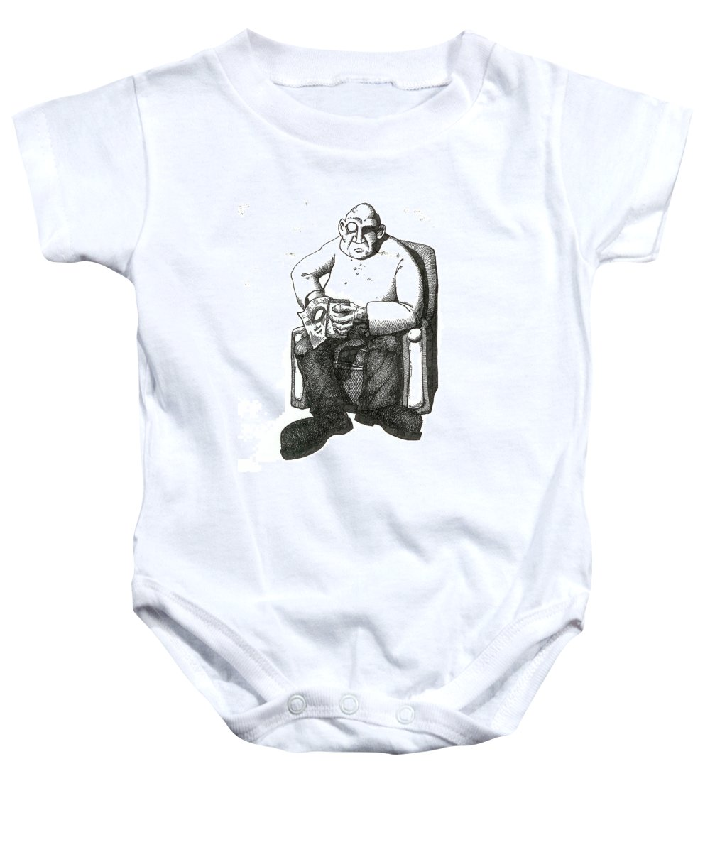 Buddha Baby Onesie featuring the drawing Snacks by Tobey Anderson