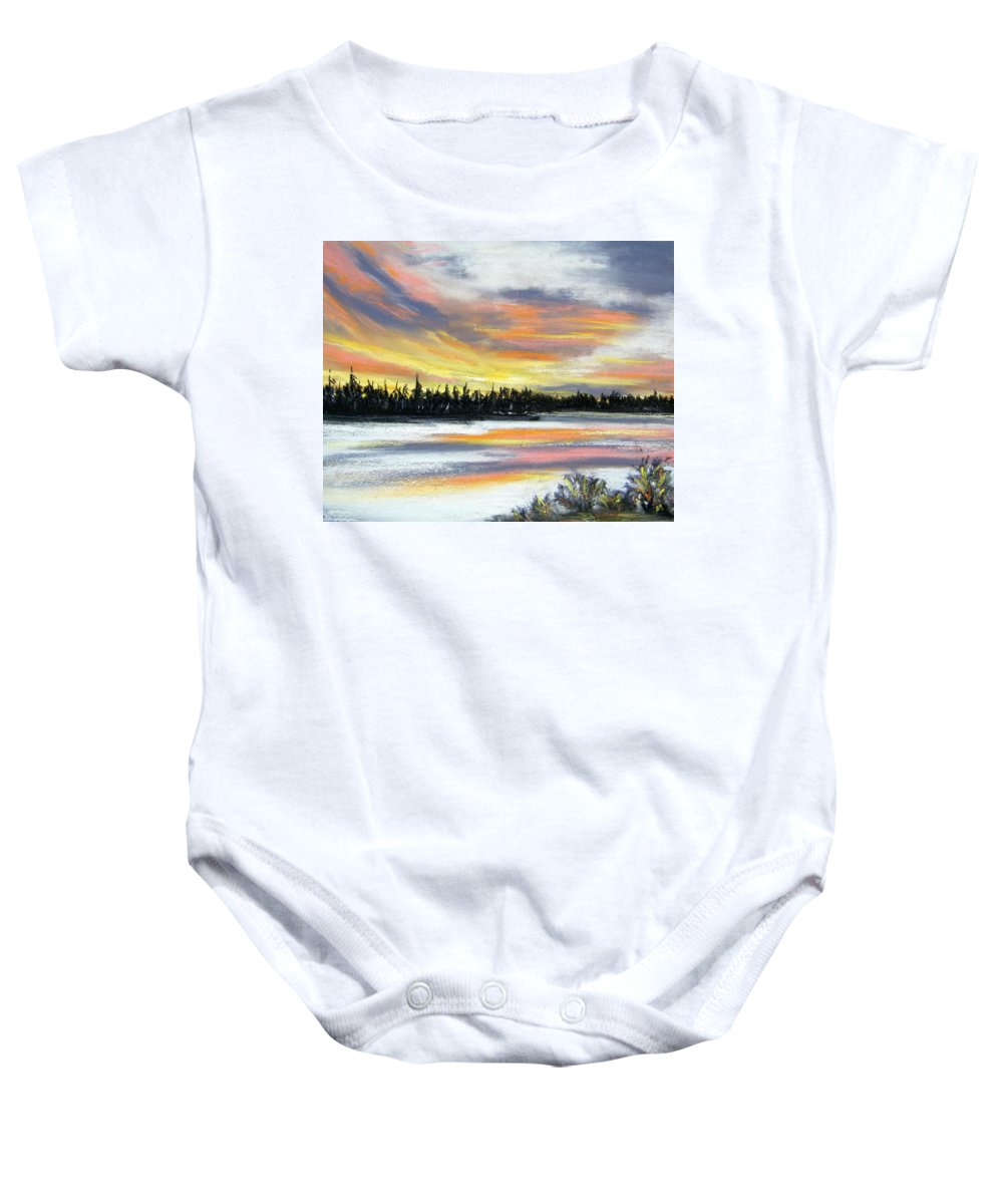 Sunset Baby Onesie featuring the pastel Snake River Sunset by Gale Cochran-Smith