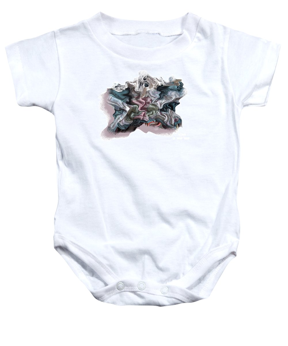 Abstract Baby Onesie featuring the digital art Snow Capped Cloth by Ron Bissett