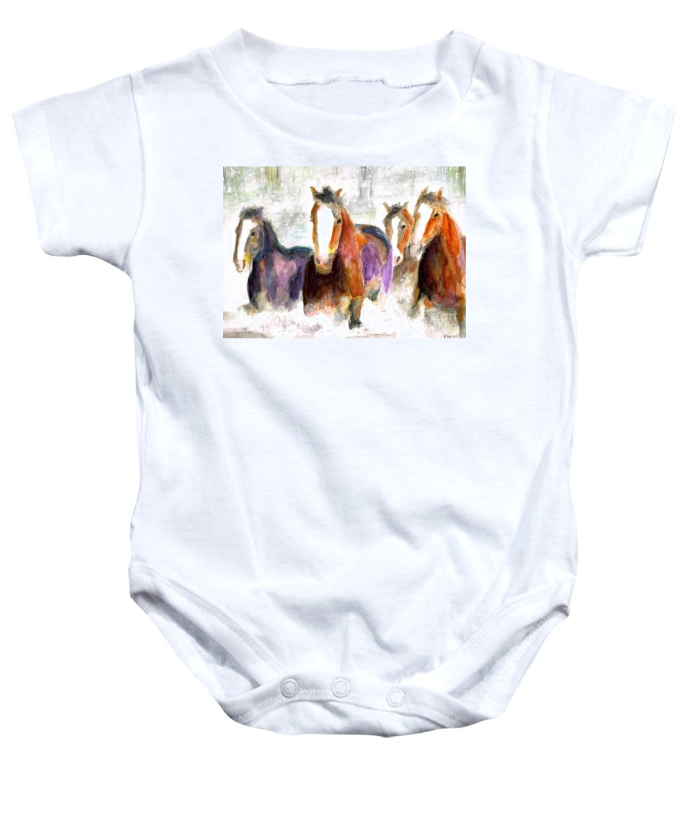 Horses Baby Onesie featuring the painting Snow Horses by Frances Marino