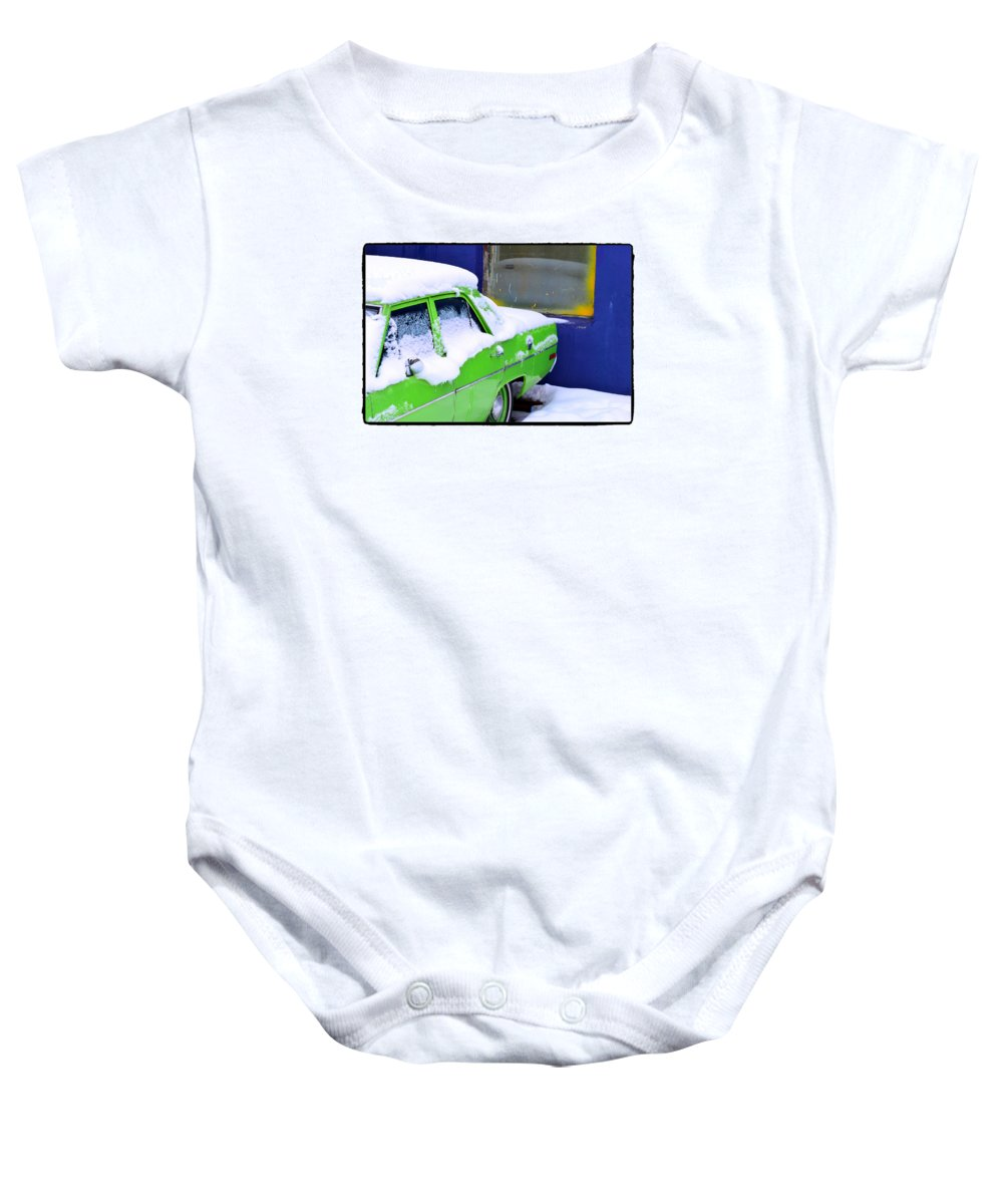 Car Baby Onesie featuring the photograph Snow On Car by Robert Skuja