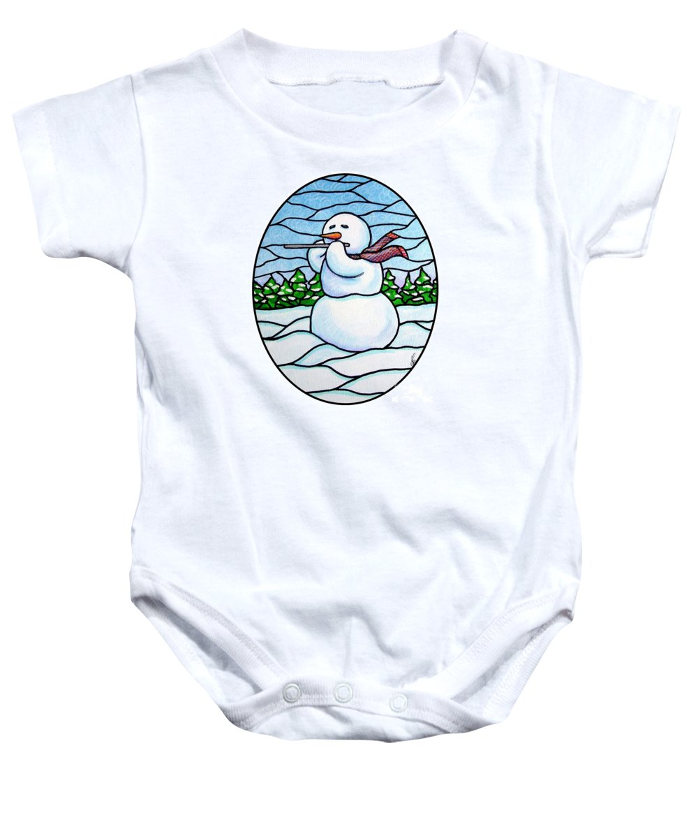 Snow Baby Onesie featuring the painting Snowman Flutist by Jim Harris