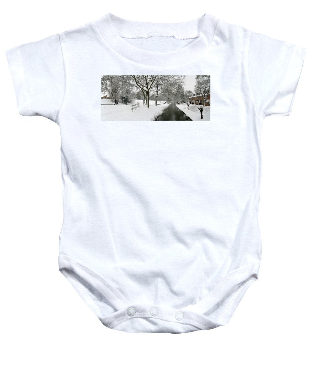 Panorama Baby Onesie featuring the photograph Walking On A Snowy Area by Erin Larcher