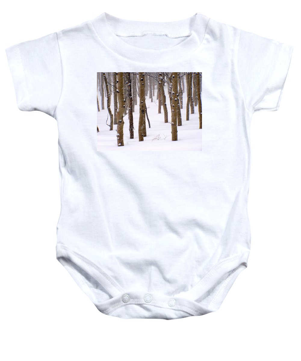 Aspen Baby Onesie featuring the photograph Snowy Aspen by Carol Milisen