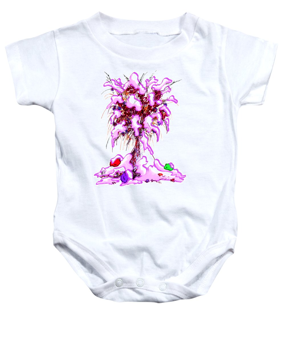 Abstract Baby Onesie featuring the digital art Snowy Bouquet by Rachel Christine Nowicki