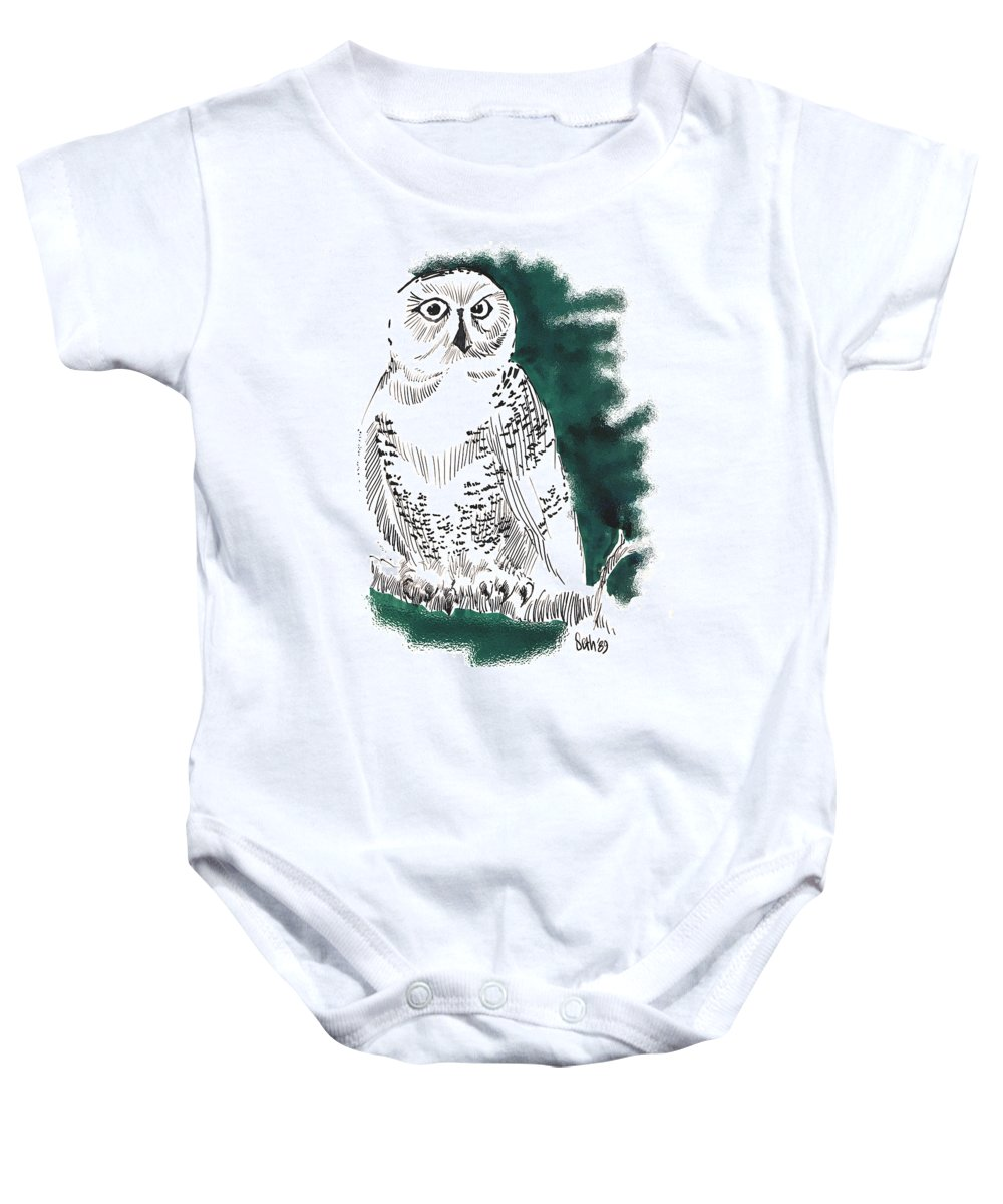 Snowy Owl Ii Baby Onesie featuring the drawing Snowy Owl II by Seth Weaver