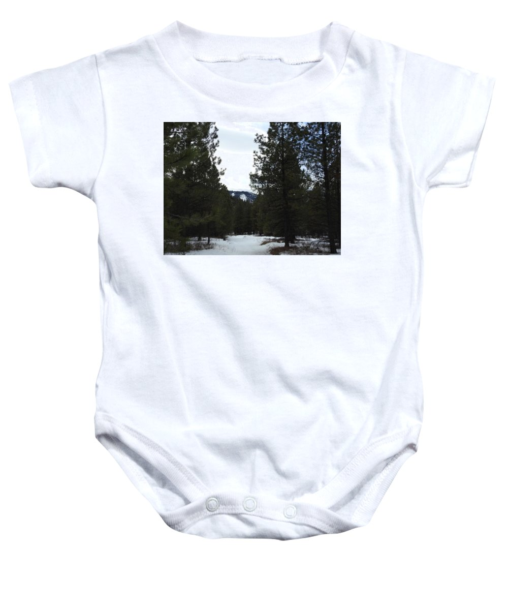 Baby Onesie featuring the photograph Snowy Trail by Dan Hassett