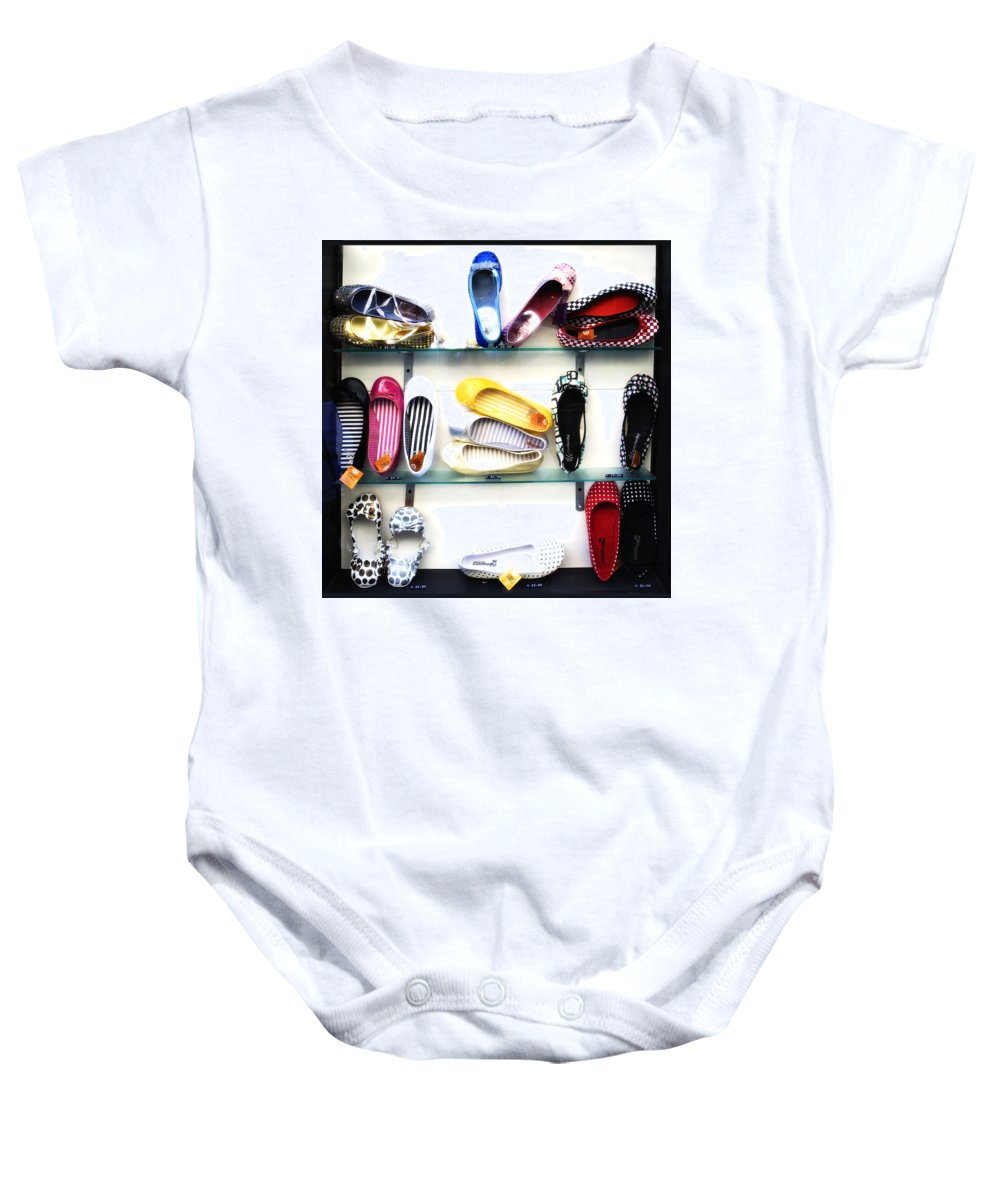 Shoes Baby Onesie featuring the photograph So Many Shoes... by Marilyn Hunt