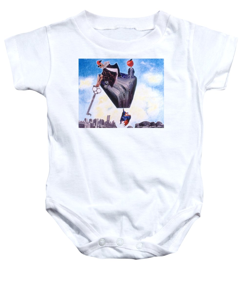 Twin Towers Baby Onesie featuring the drawing Soap Scene #11 Seek The Love Within by Minaz Jantz