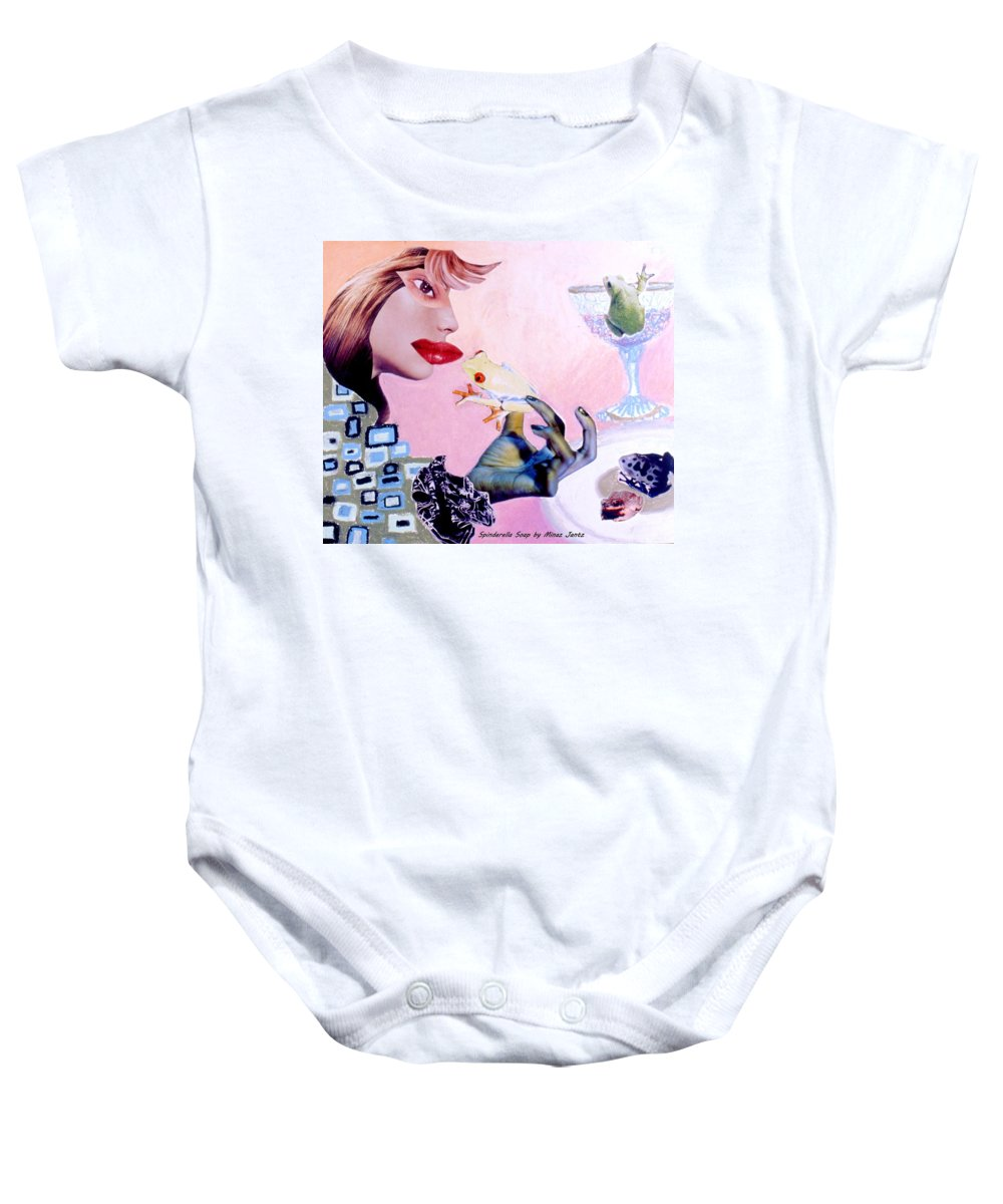Frogs Baby Onesie featuring the drawing Soap Scene #6 Frogs Legs For Dinner by Minaz Jantz