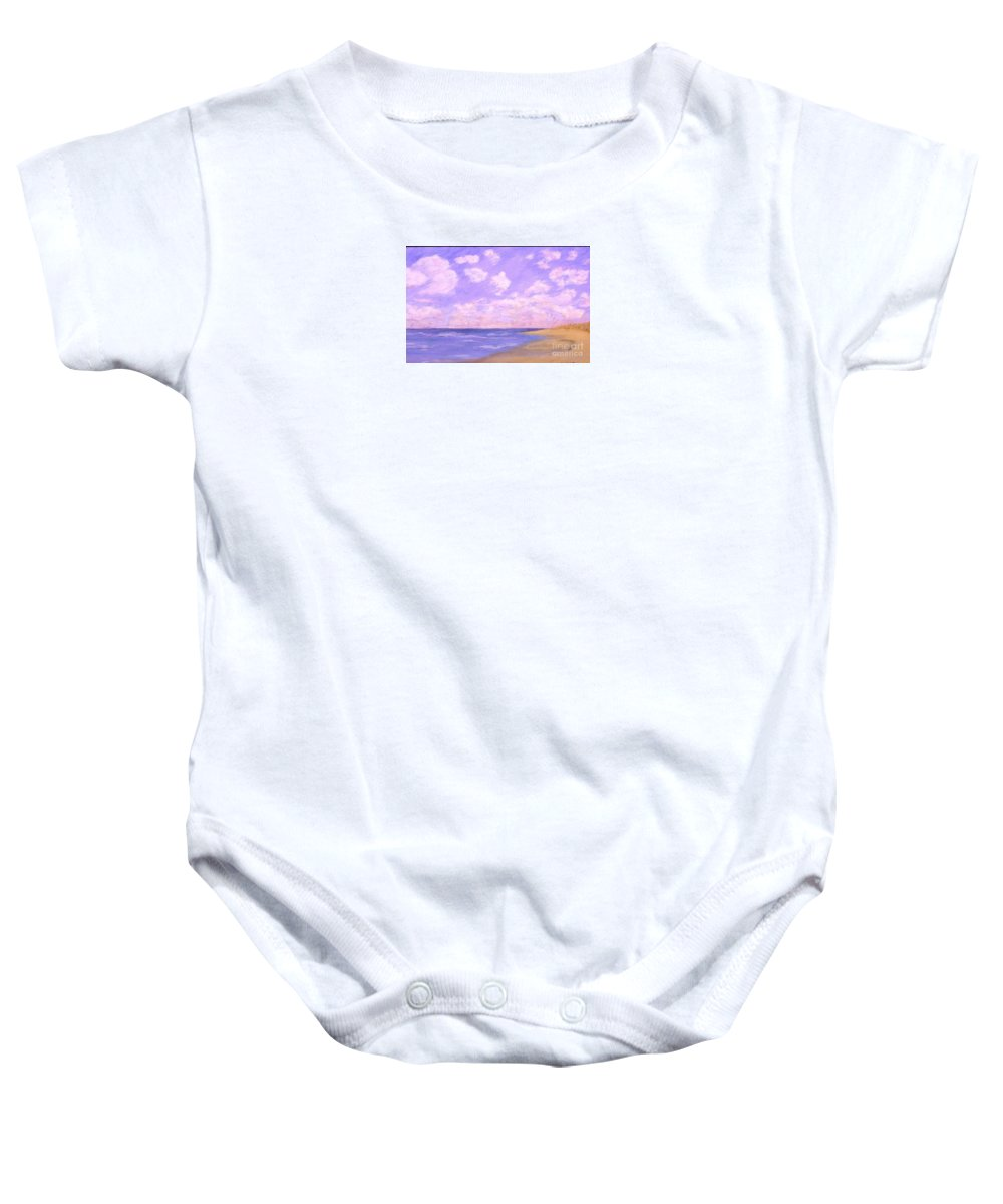 Seascape Baby Onesie featuring the painting Solitude by Mary Erbert