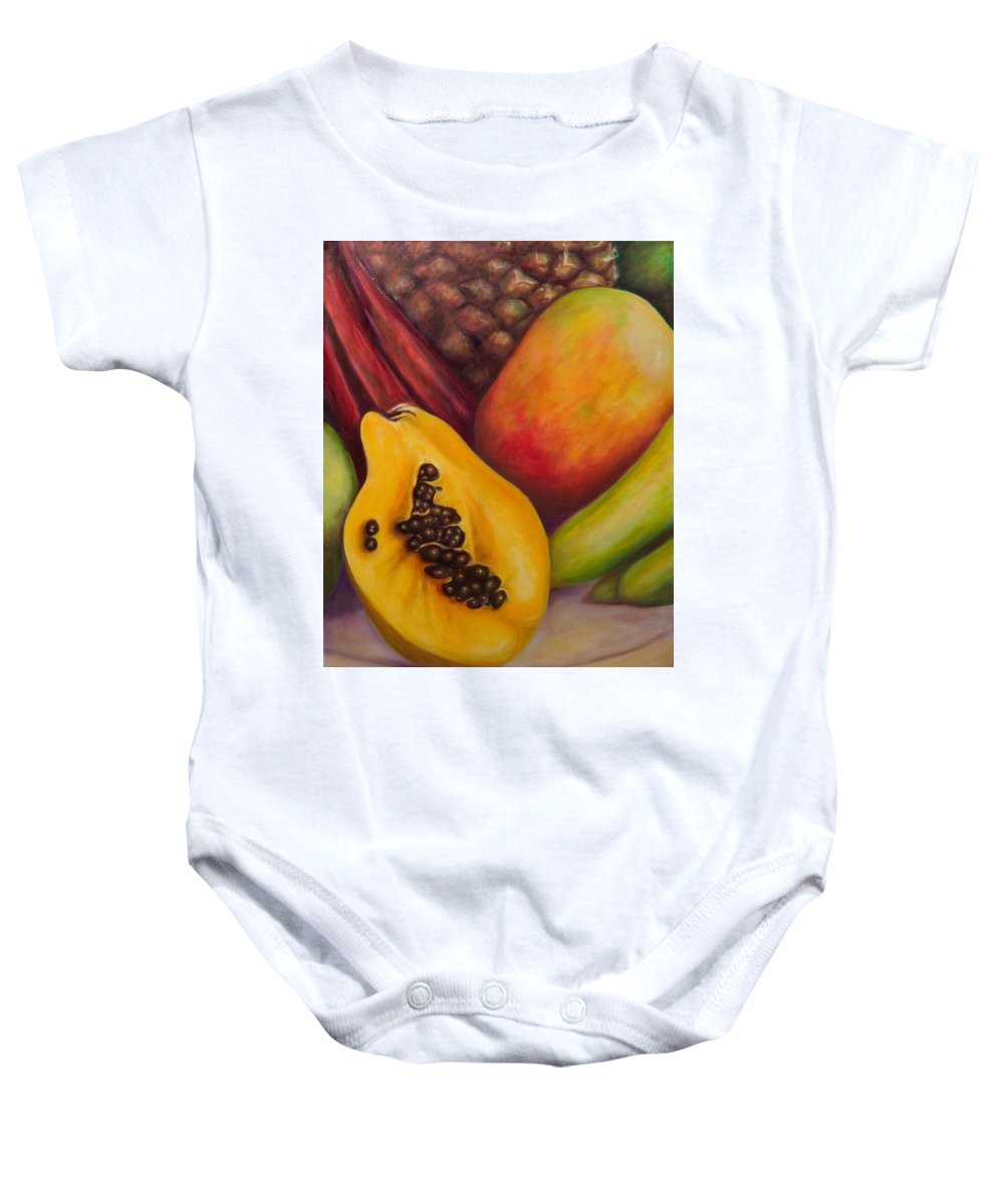Tropical Fruit Still Life: Mangoes Baby Onesie featuring the painting Solo by Shannon Grissom