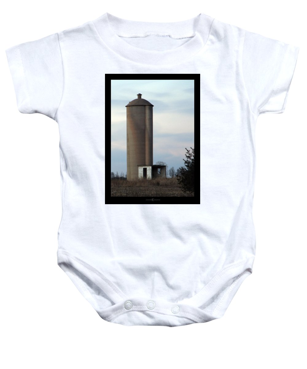 Silo Baby Onesie featuring the photograph Solo Silo by Tim Nyberg