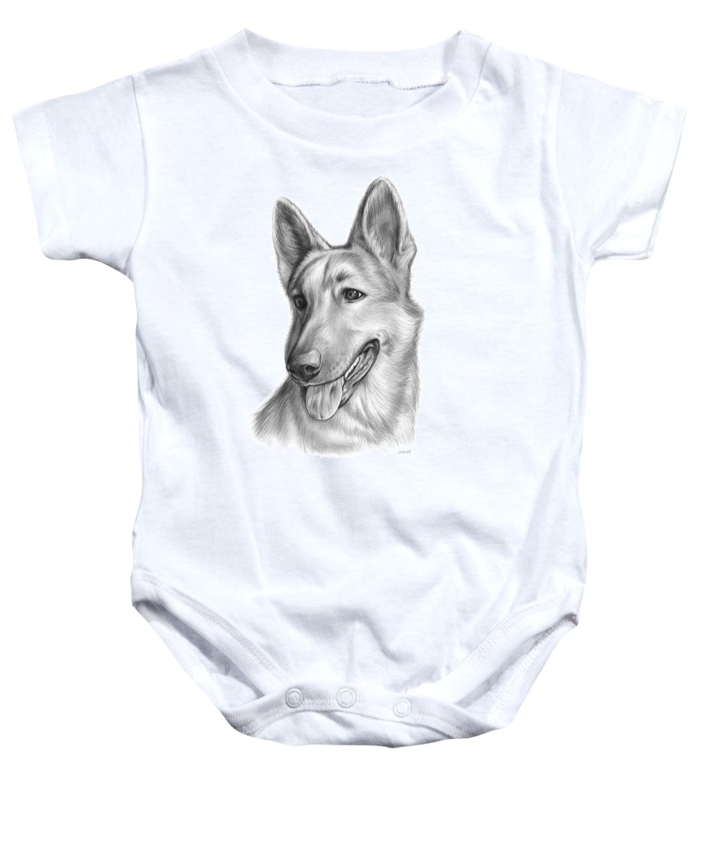 Dog Baby Onesie featuring the drawing Sophie by Greg Joens