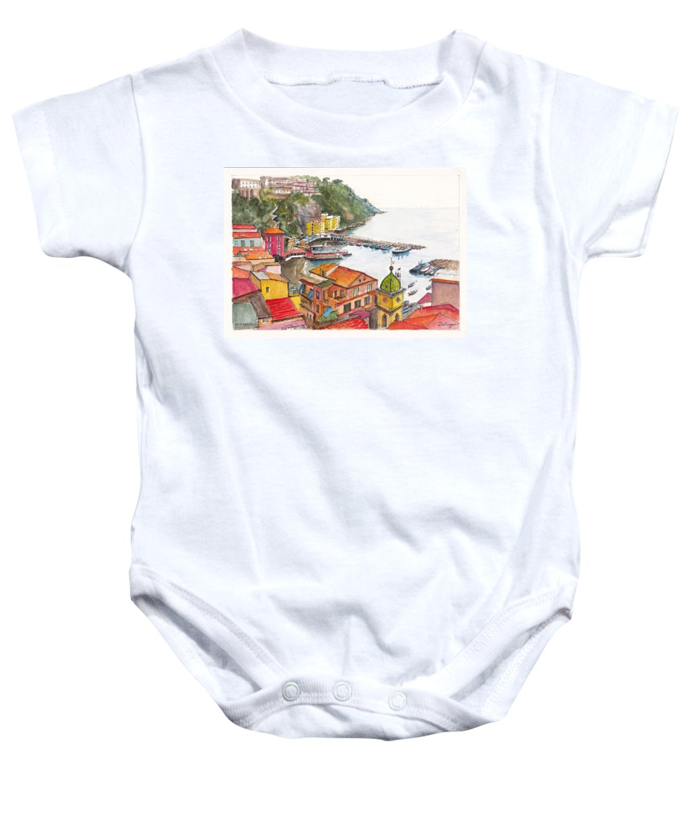 Seascape Baby Onesie featuring the painting Sorrento Harbour by Dai Wynn