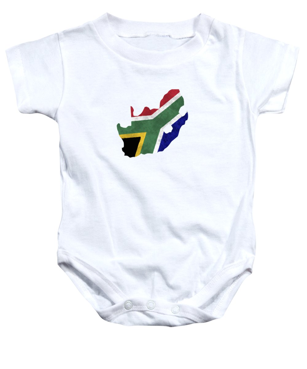 c376c61860367 South Africa Map Art With Flag Design Baby Onesie