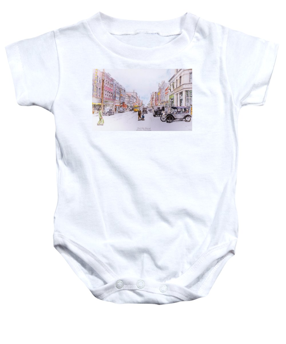 Print Greensboro History Baby Onesie featuring the painting South Elm Street 1918 by Maggie Clark