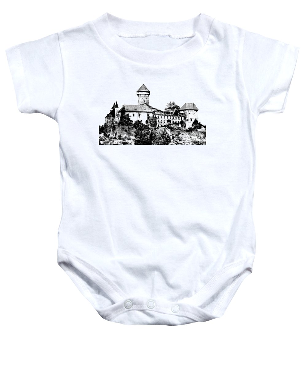 Castle Baby Onesie featuring the mixed media Sovinec - Castle Of The Holy Order by Michal Boubin