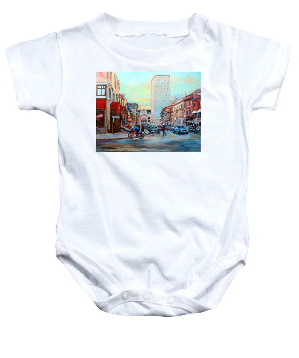 Montreal Baby Onesie featuring the painting Speed Cyclist On Crescent by Carole Spandau