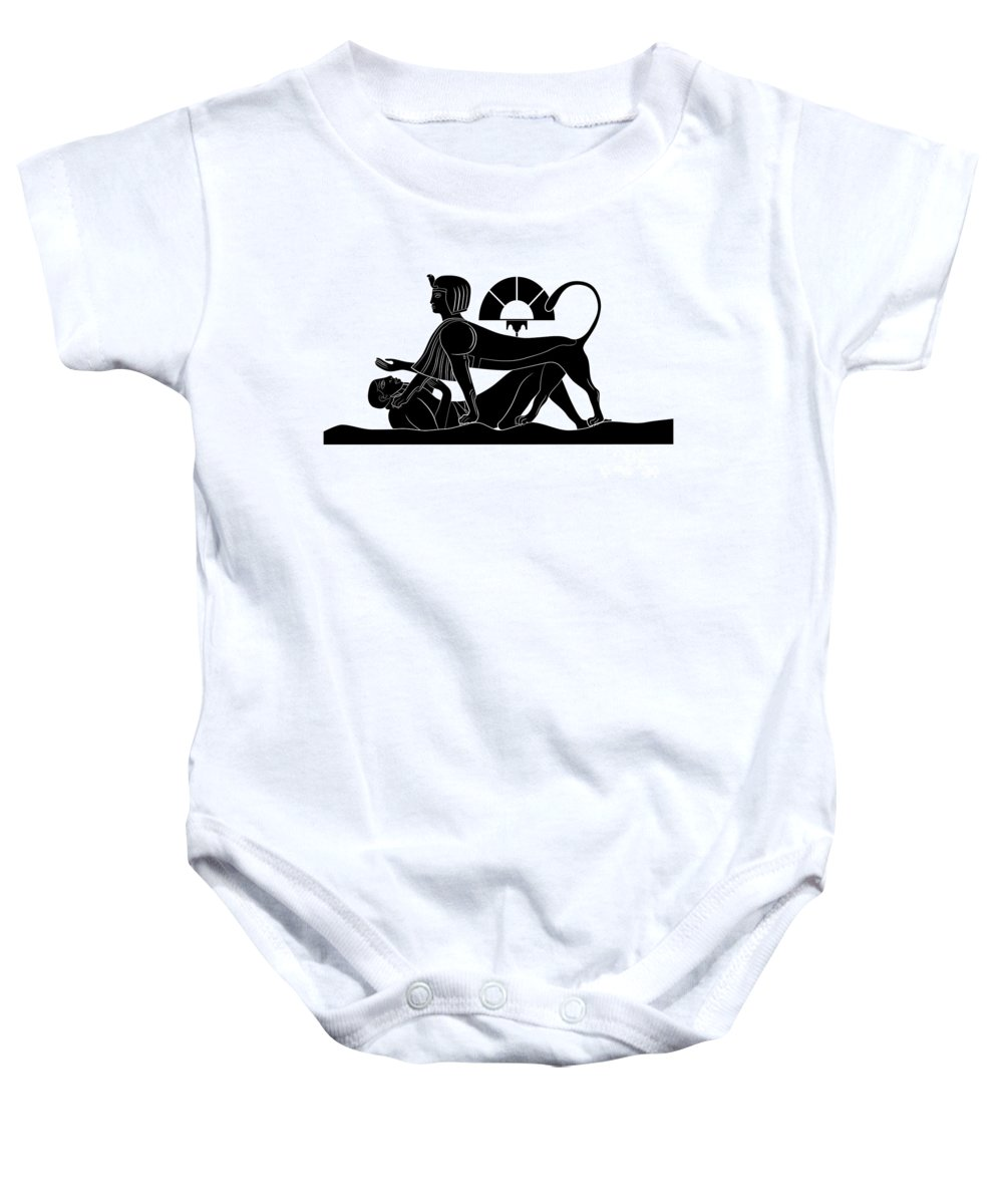 Puzzler Baby Onesie featuring the digital art Sphinx And Failed Puzzler by Michal Boubin