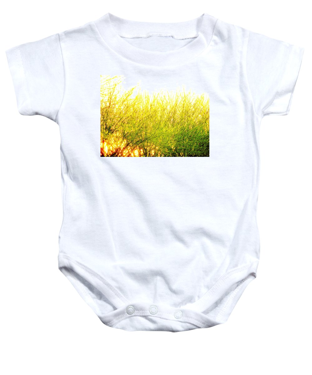 Splatter Baby Onesie featuring the photograph Yellow Splatter by M Pace
