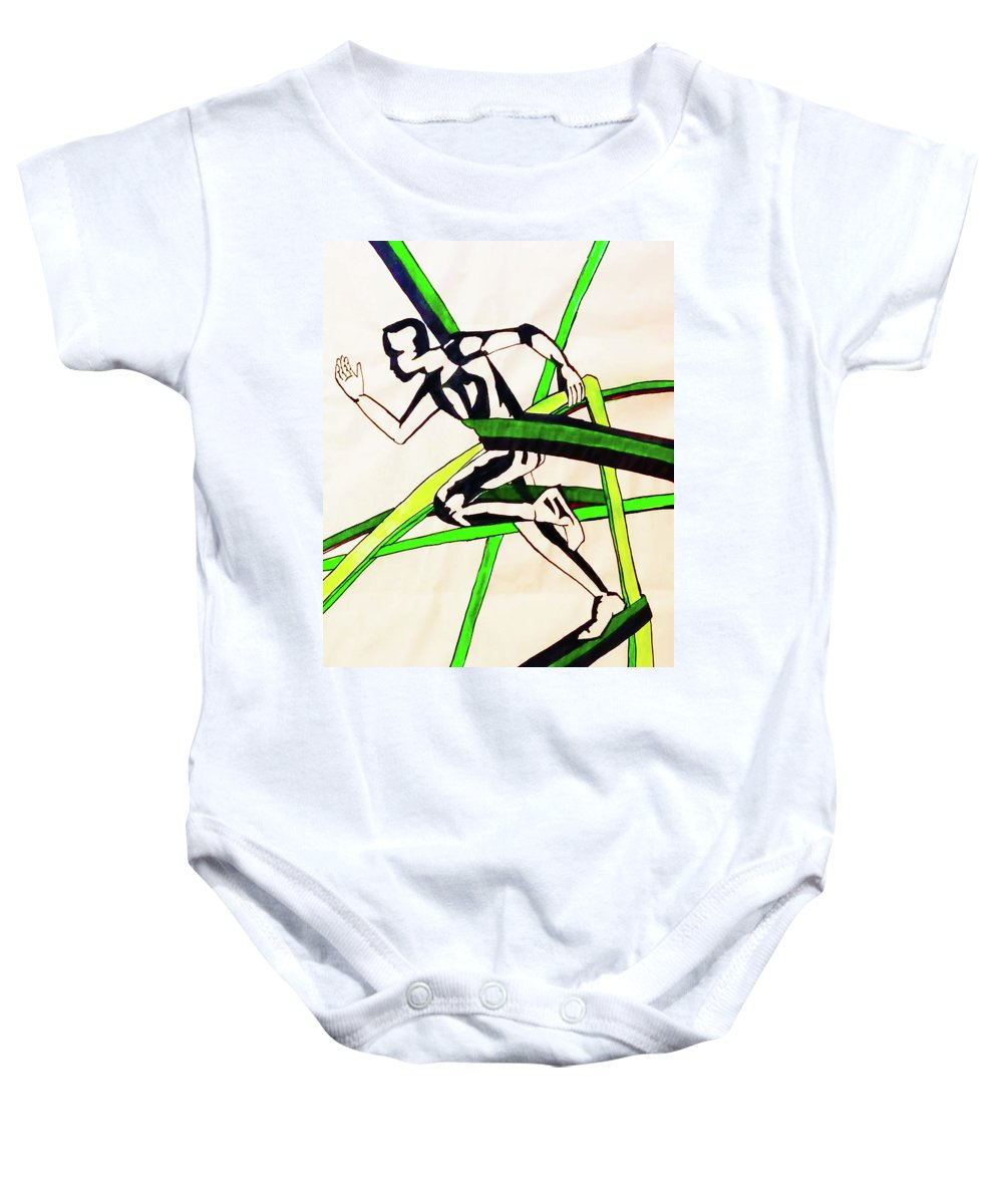 Sport Baby Onesie featuring the painting Sport by Maria Rom