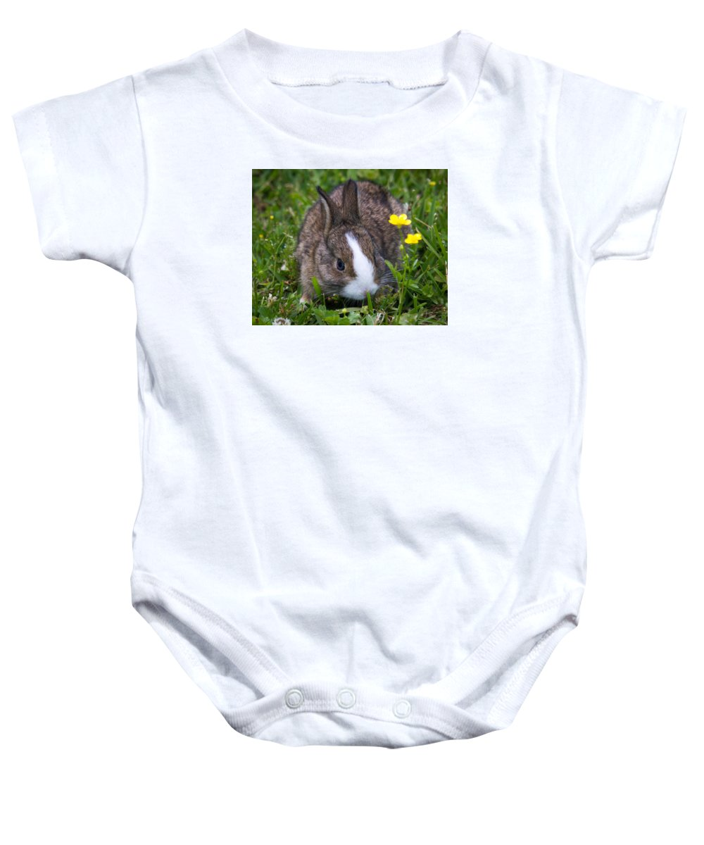 Bunny Baby Onesie featuring the photograph Spring Bunny by Deb Henman