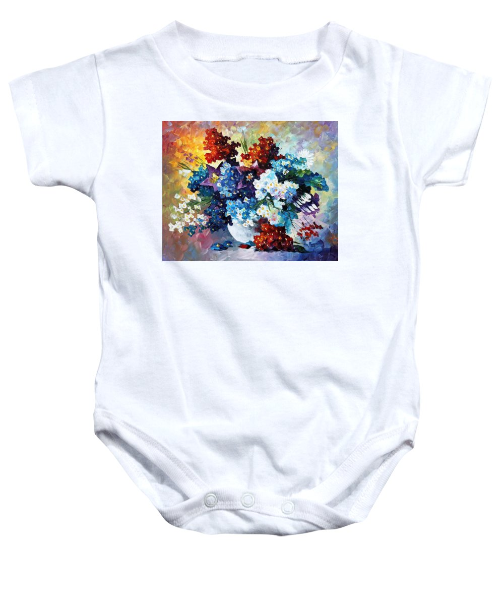 Art Gallery Baby Onesie featuring the painting Springs Smile - Palette Knife Oil Painting On Canvas By Leonid Afremov by Leonid Afremov