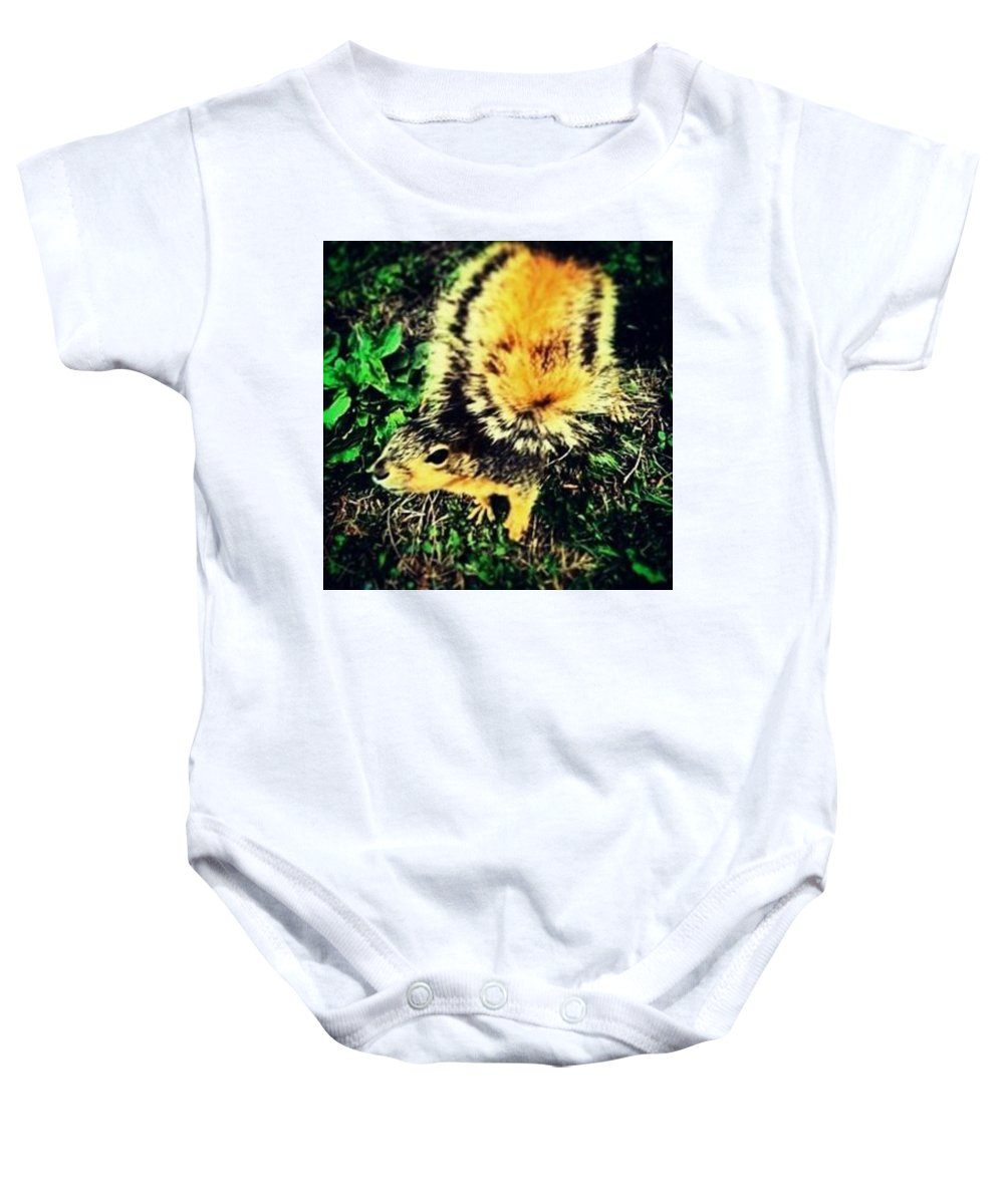 Squirrel Baby Onesie featuring the photograph Squirrel by Aliens Abducted The Artist