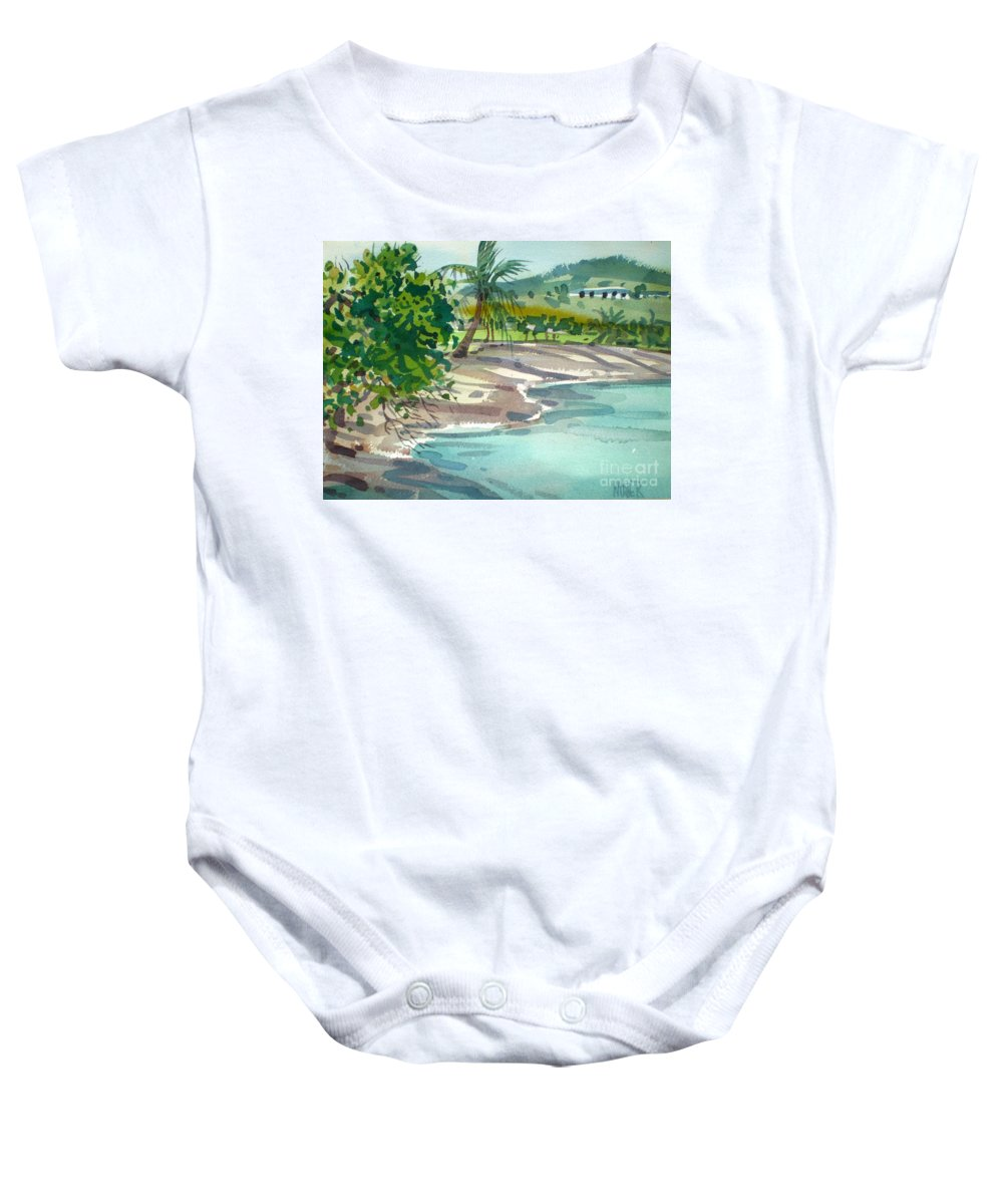 St. Croix Baby Onesie featuring the painting St. Croix Beach by Donald Maier