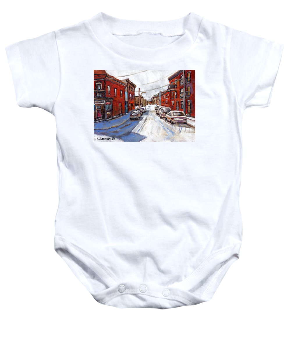 Classic Montreal Baby Onesie featuring the painting St Henri Depanneur Canadian Paintings Mini Montreal Masterpieces For Sale Petits Formats A Vendre by Carole Spandau