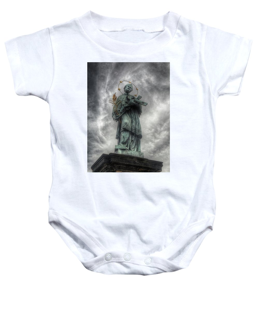 Baby Onesie featuring the photograph St John Nepomuk by Michael Kirk