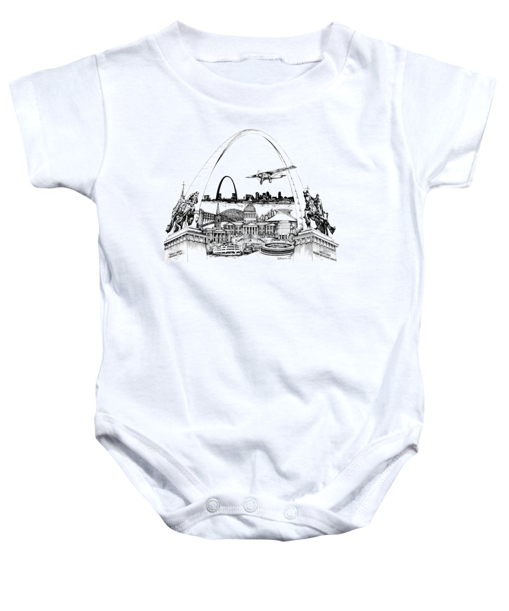 City Drawing Baby Onesie featuring the drawing St. Louis Highlights Version 1 by Dennis Bivens