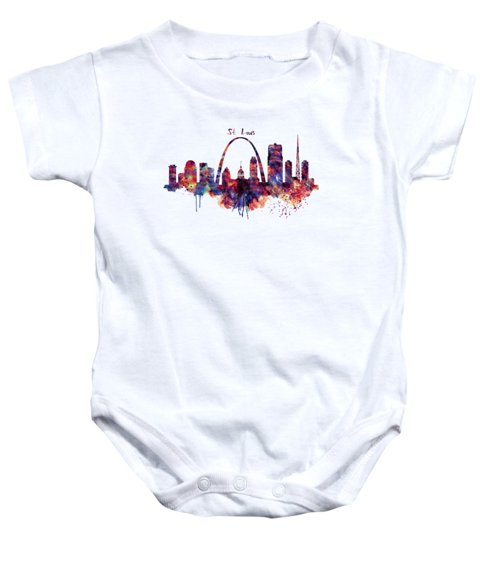 St Louis Baby Onesie featuring the painting St Louis Skyline by Marian Voicu