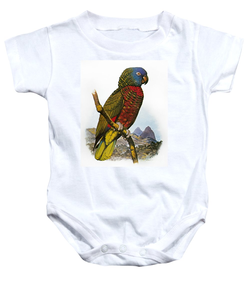 Amazon Baby Onesie featuring the photograph St Lucia Amazon Parrot by Granger